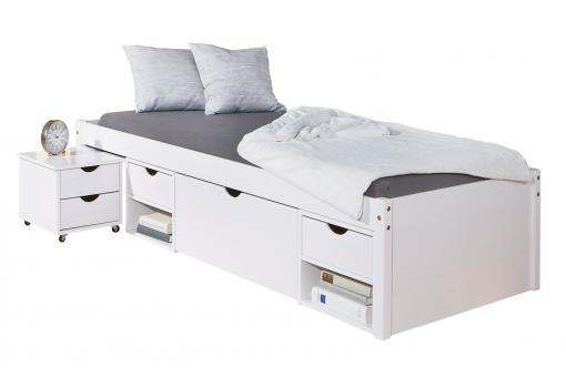 lit en bois avec 4 espaces de rangement blanc 90x200 kolo lit enfant pas cher. Black Bedroom Furniture Sets. Home Design Ideas