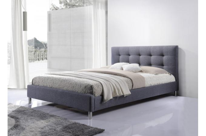lit gris 160 en tissu avec t te de lit capitonn e eva. Black Bedroom Furniture Sets. Home Design Ideas