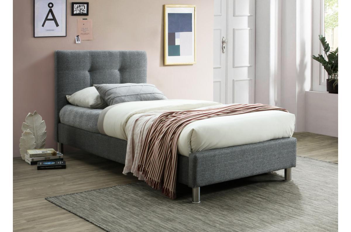 Lit Avec Tete De Lit Matelassé lit gris avec tête de lit capitonnée 90cm eva plus d'infos