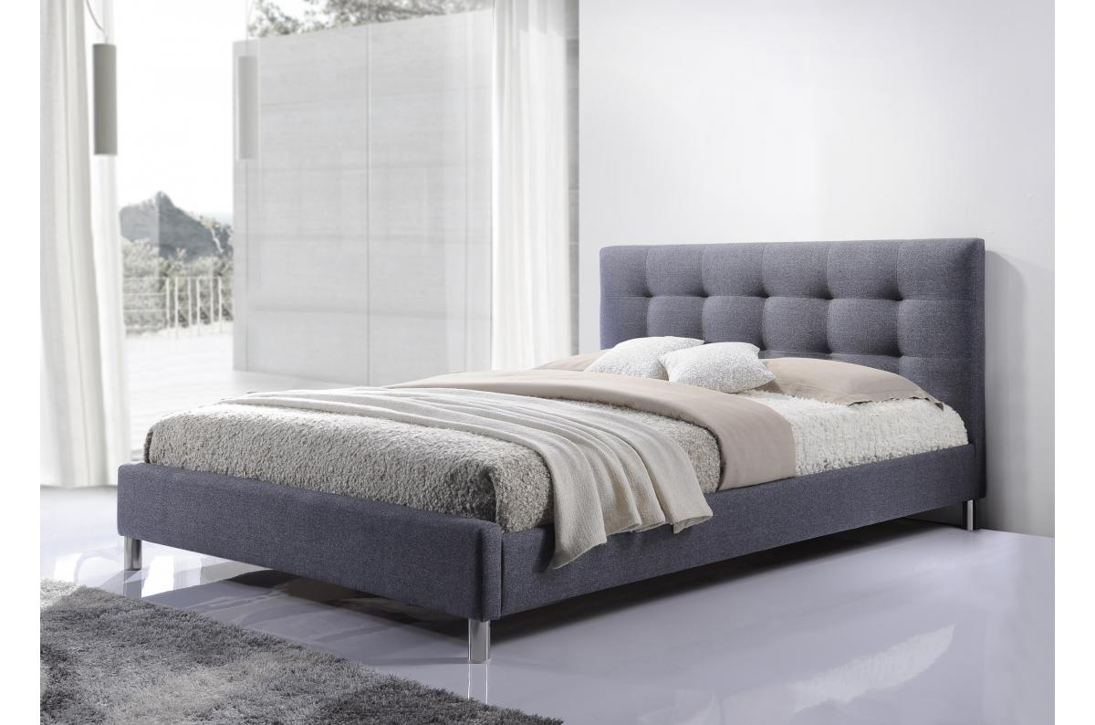 Tete De Lit En Bois Pas Cher lit gris tissu avec tête de lit capitonné 160 eva 5/5 (8 avis)
