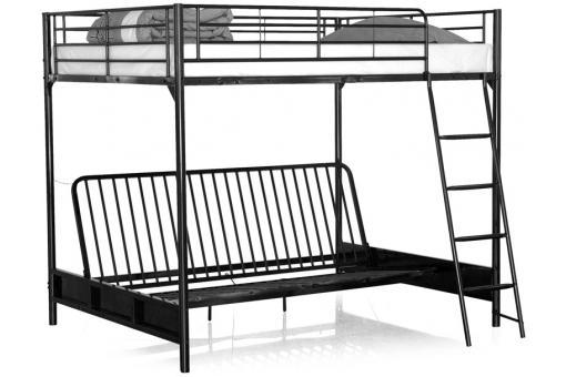 lit mezzanine avec banquette convertible int gr e noir. Black Bedroom Furniture Sets. Home Design Ideas