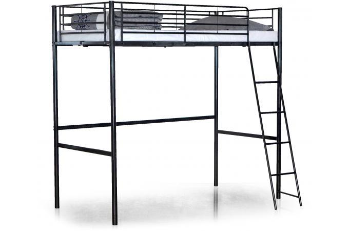 lit mezzanine noir 140x190 intel lit design pas cher. Black Bedroom Furniture Sets. Home Design Ideas