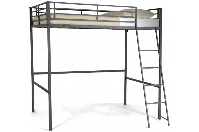 lit mezzanine noir 140x190 khan lit design pas cher. Black Bedroom Furniture Sets. Home Design Ideas