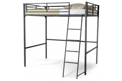 lit mezzanine noir 140x190 khan lit design pas cher. Black Bedroom Furniture Sets. Home Design Ideas