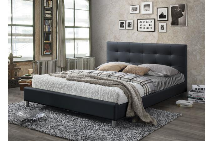 lit noir avec t te de lit capitonn e 160 eva lit design pas cher. Black Bedroom Furniture Sets. Home Design Ideas