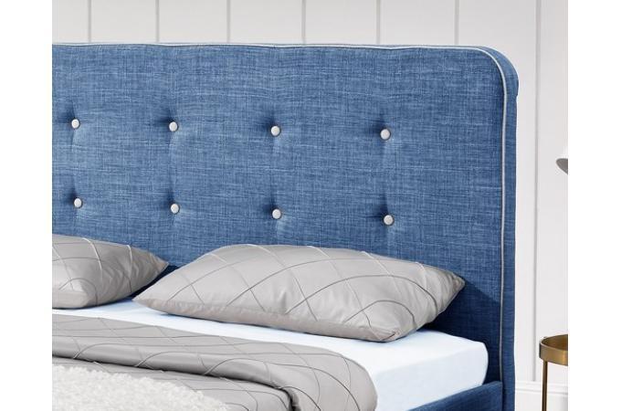 lit scandinave 140x190 bleu avec t te de lit capitonn e relaxation lit design pas cher. Black Bedroom Furniture Sets. Home Design Ideas