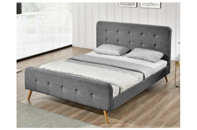 lit scandinave 140x190 gris avec t te de lit capitonn e. Black Bedroom Furniture Sets. Home Design Ideas