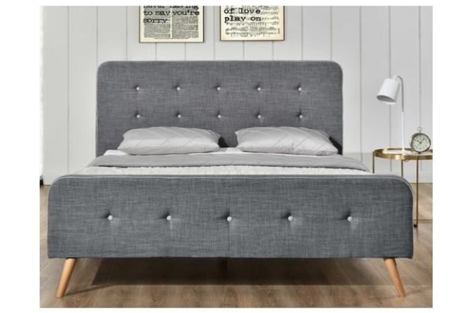 lit scandinave 140x190 gris avec t te de lit capitonn e relaxation lit design pas cher. Black Bedroom Furniture Sets. Home Design Ideas