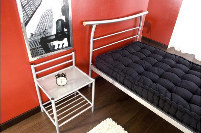 lit simple argent sommier 90x190 julio lit design pas cher. Black Bedroom Furniture Sets. Home Design Ideas