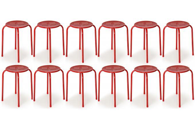 Lot De 12 Tabourets Empilables Metal Rouges Naemi Petit Tabouret