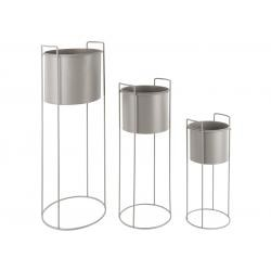 Lot de 3 Caches-Pots ESSENCE Rond Métal Gris