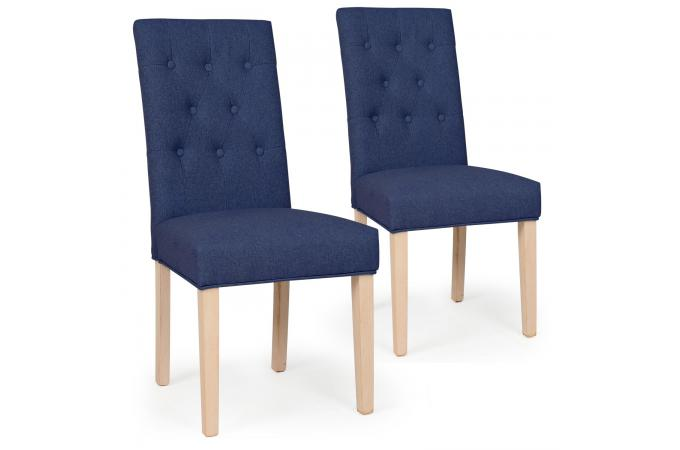 Lot De 2 Chaises Capitonnee Tissu Bleu COSTA