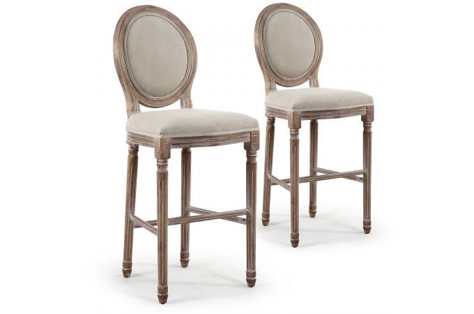 lot de 2 chaises de bar m daillon tissu beige vinci chaise design pas cher. Black Bedroom Furniture Sets. Home Design Ideas