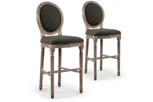 Lot de 2 chaises de bar m daillon tissu gris vinci - Chaise de bar medaillon ...