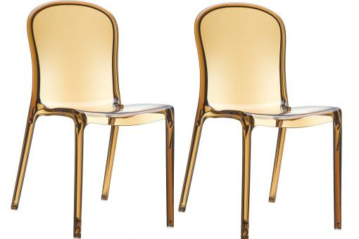 Lot de 2 Chaises design Ambre Transparentes VIVA