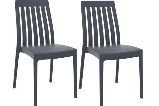Lot de 2 Chaises design anthracite SAMY