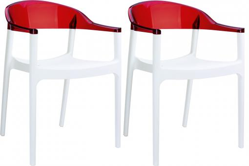 Lot de 2 Chaises design Blanches et Rouges Transparentes RAVI