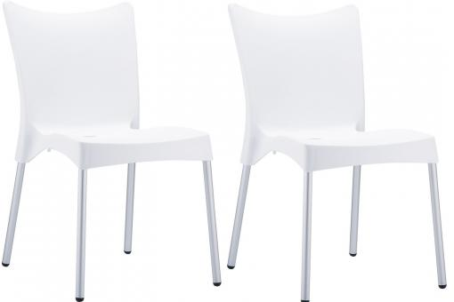 Lot de 2 Chaises design Blanches JULIE