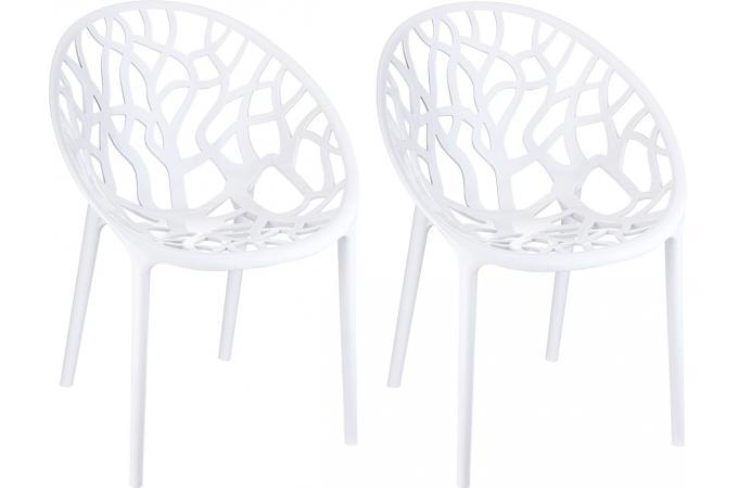 Lot de 2 chaises design blanches laqu es cinnamon chaise - Chaises laquees blanches ...