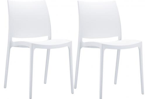 Lot de 2 Chaises design Blanches Mimi