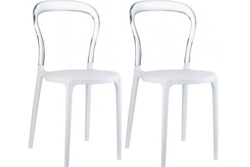 Lot de 2 Chaises design Blanches Transparentes ELEGANT