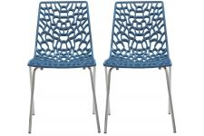 Lot De 2 Chaises Design Bleues TRAVIATA - Chaise bleu design