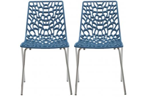 Lot De 2 Chaises Design Bleu TRAVIATA