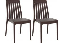 Lot de 2 Chaises design Chocolat SAMY - Chaise marron design