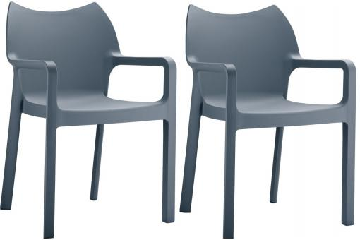 Lot de 2 Chaises design Grises anthracite DIVINA