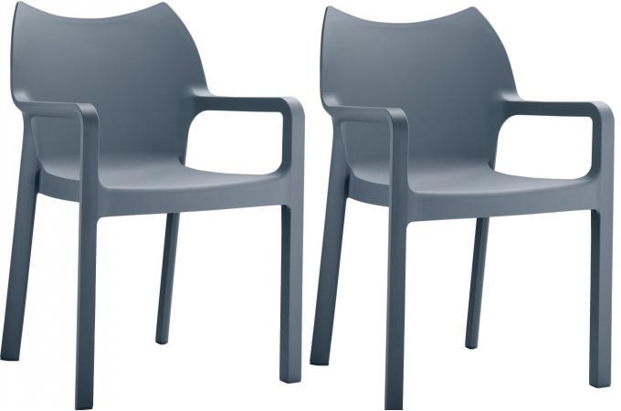 Lot De 2 Chaises Design Grises Anthracite Divina Chaise