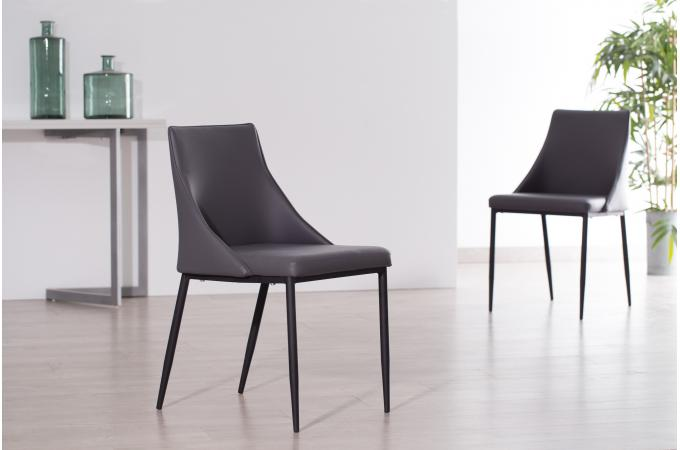 Lot de 2 chaises design grises callmi chaise design pas cher - Chaises design grises ...