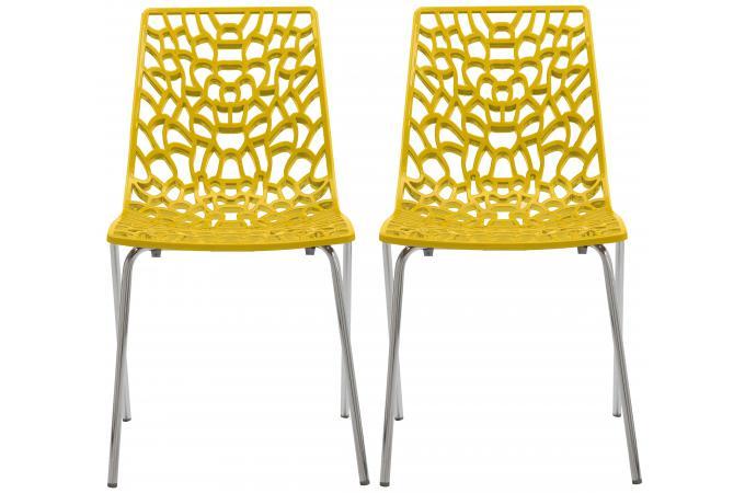 lot de 2 chaises design jaunes traviata chaise design pas cher. Black Bedroom Furniture Sets. Home Design Ideas
