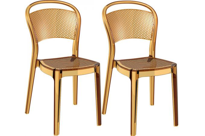 lot de 2 chaises design jaunes transparent biz chaise design pas cher. Black Bedroom Furniture Sets. Home Design Ideas