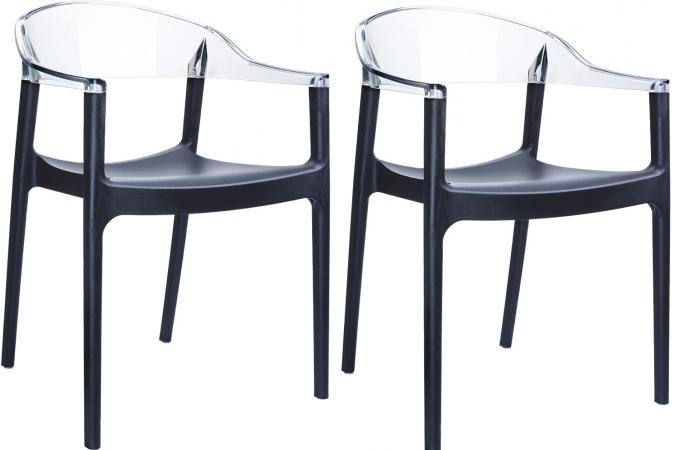 lot de 2 chaises design noires et transparentes ravi chaise design pas cher. Black Bedroom Furniture Sets. Home Design Ideas