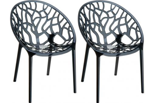 Lot de 2 Chaises design Noires Transparentes CINNAMON