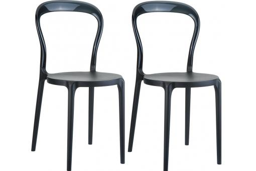 Lot de 2 Chaises design Noires Brillantes ELEGANT