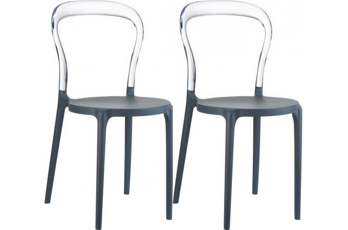 Lot de 2 chaises noires transparentes elegant chaise - Lot de chaises noires ...