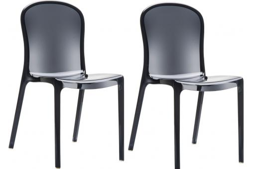 Lot de 2 Chaises design Noires Transparentes VIVA