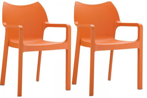 Lot de 2 Chaises design Oranges DIVINA