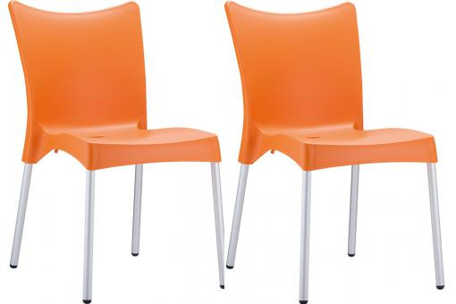 Lot de 2 Chaises design Oranges JULIE