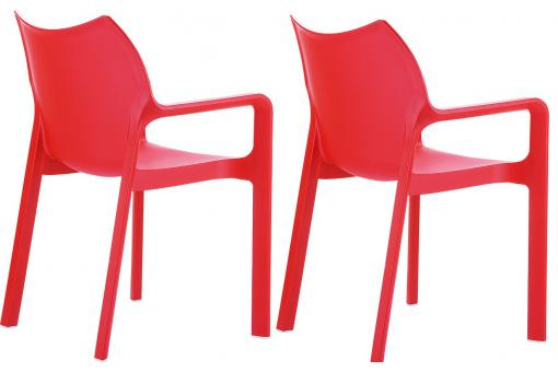 Lot de 2 Chaises design Rouges DIVINA