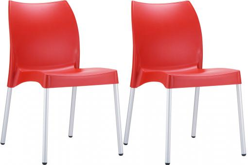 Lot de 2 Chaises design Rouges MARTHA