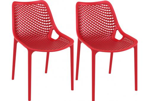 Lot de 2 Chaises design Rouges Max