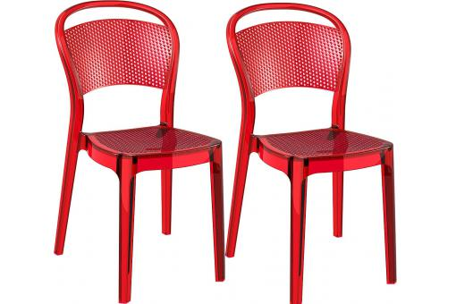 Lot de 2 Chaises design Rouges transparent BIZ