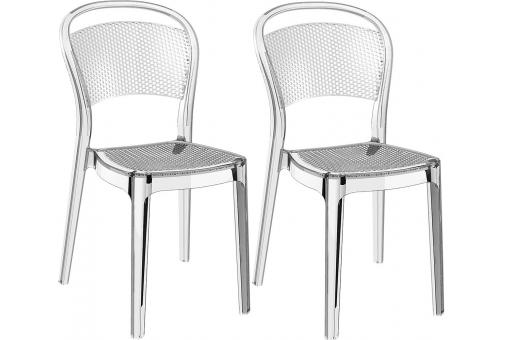 Lot de 2 Chaises design Transparentes BIZ