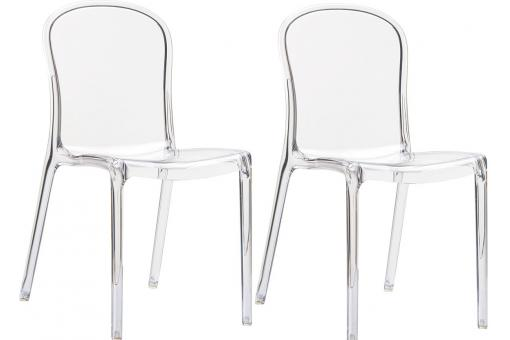 Lot de 2 Chaises design Transparentes VIVA