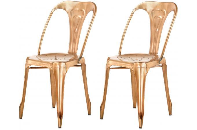 Lot de 2 chaises industrielles cuivre kirk chaise design pas cher - Chaise industrielle pas cher ...