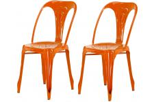 Lot de 2 Chaises Industrielles Orange KIRK - Chaise orange design