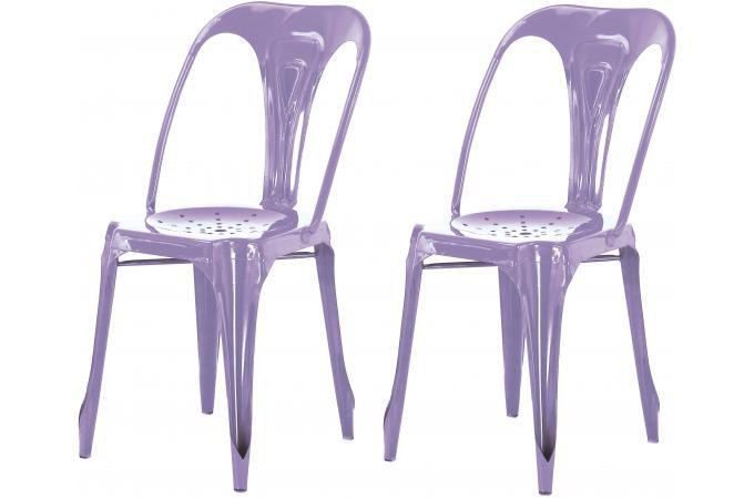 lot de 2 chaises industrielles violette m tal kirk chaise design pas cher. Black Bedroom Furniture Sets. Home Design Ideas