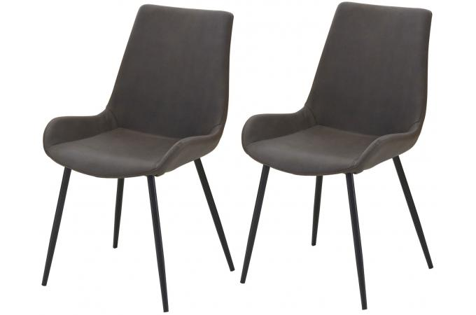 lot de 2 chaises marron vieilli rick chaise design pas cher. Black Bedroom Furniture Sets. Home Design Ideas